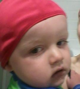 Reilly in his swimcap